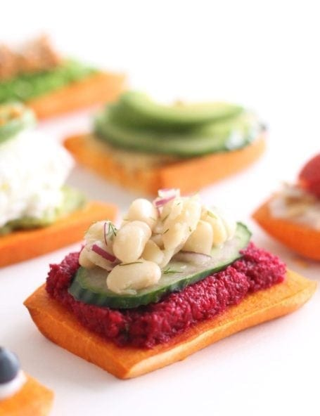 white bean cucumber and beet sweet potato toast - eat spin run repeat