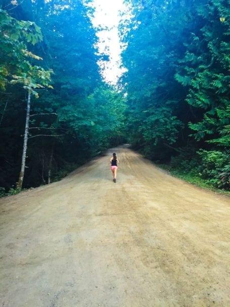 running up a huge hill