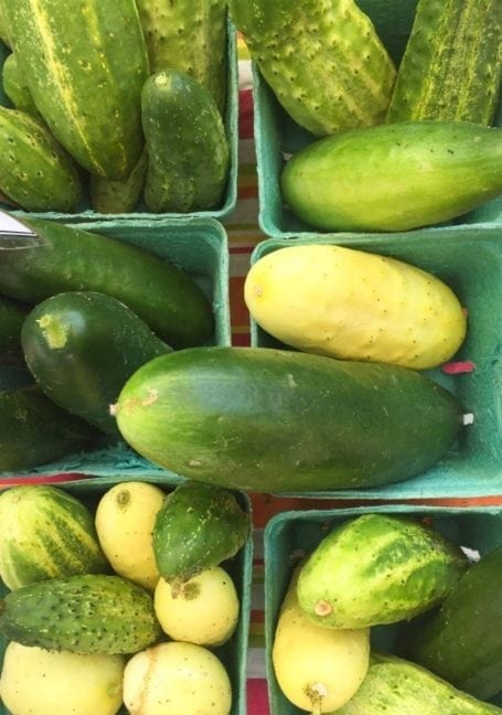 cucumbers at the market