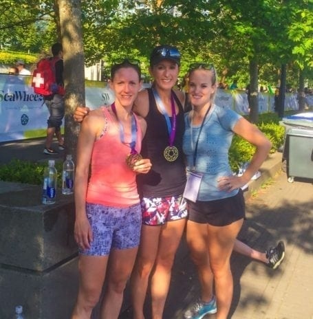 post-race celebrating with team ivivva
