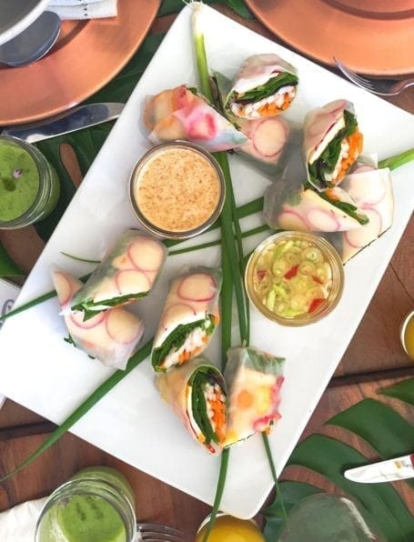 rice paper rolls with smoked tofu at field and social