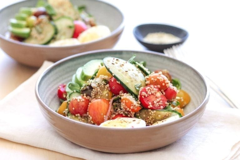 Heirloom Tomato, Cucumber and Quinoa Salad - Eat Spin Run Repeat