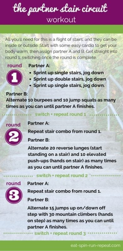 Fit Bit Friday 257 - The Partner Stair Circuit Workout - Eat Spin Run Repeat
