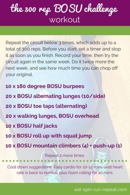 Fit Bit Friday 258- The 300 Rep BOSU Challenge Workout - Eat Spin Run Repeat