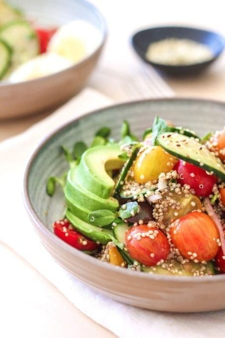 Baby Heirloom Tomato, Cucumber and Quinoa Salad - Eat Spin Run Repeat