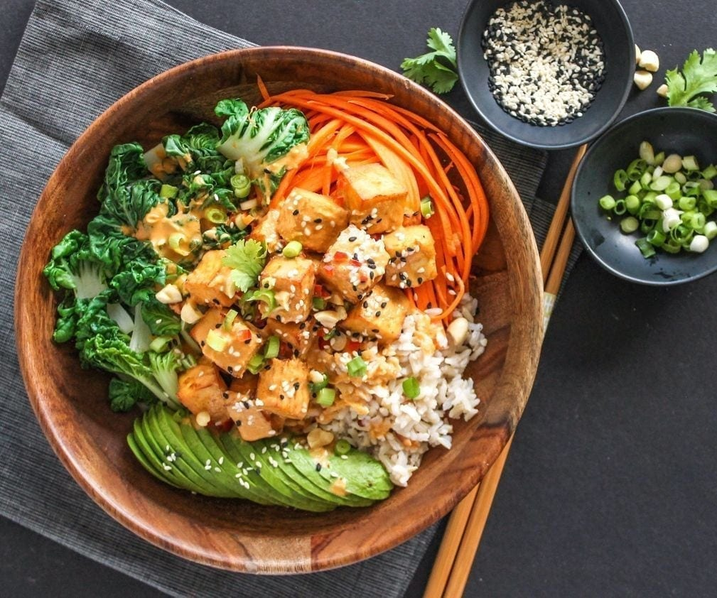Thai Peanut Tofu Buddha Bowls - My Fresh Perspective