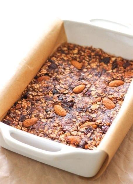 making Vegan No-Bake Chocolate Cranberry Almond Granola Bars
