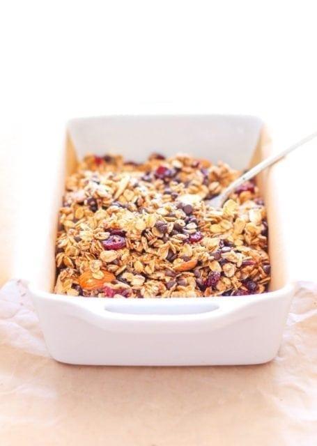 mixing ingredients for Vegan No-Bake Chocolate Cranberry Almond Granola Bars