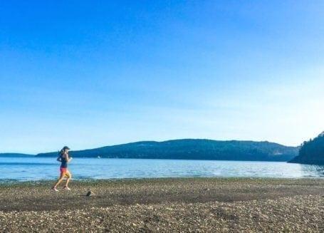 running on the beach at salt spring island
