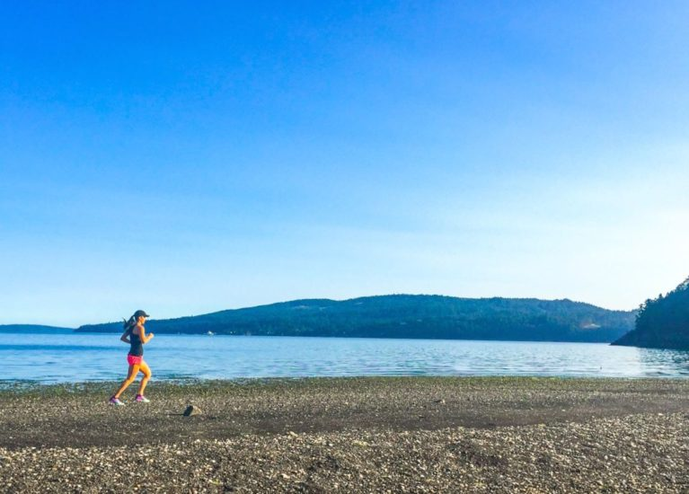 running on the beach at salt spring island