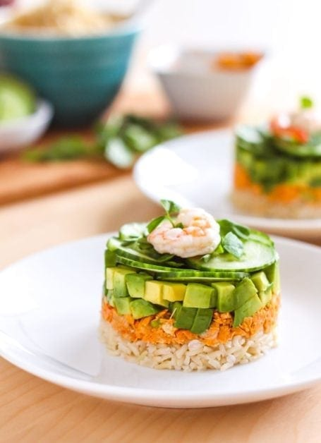 Coconut Red Curry Salmon Towers - Eat Spin Run Repeat