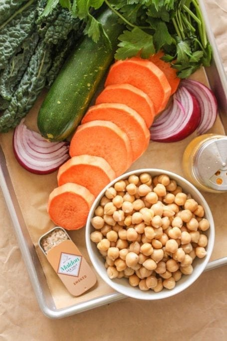 Ingredients for Crispy Chickpea, Sweet Potato and Kale Bowls with Garlic Tahini Sauce - Eat Spin Run Repeat