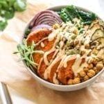 Crispy Chickpea, Sweet Potato and Kale Bowls with Garlic Tahini Sauce - Eat Spin Run Repeat