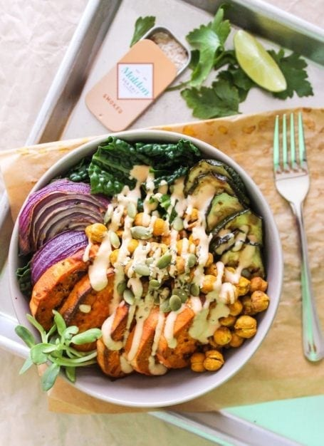 Crispy Chickpea, Sweet Potato and Kale Bowls with Garlic Tahini Sauce - Eat Spin Run Repeat