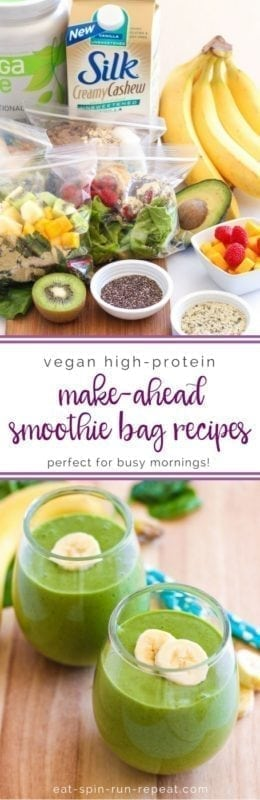 Vegan High-Protein Make-Ahead Smoothie Bag Recipes - Eat Spin Run Repeat