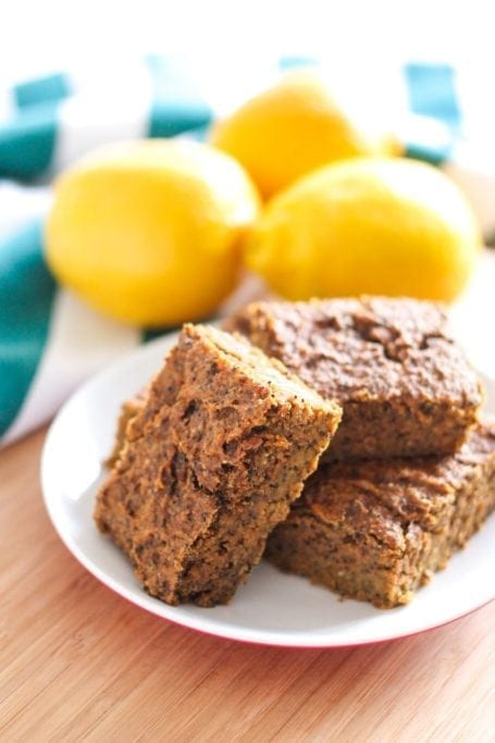 Vegan Lemon Poppy Seed Protein Squares - Eat Spin Run Repeat
