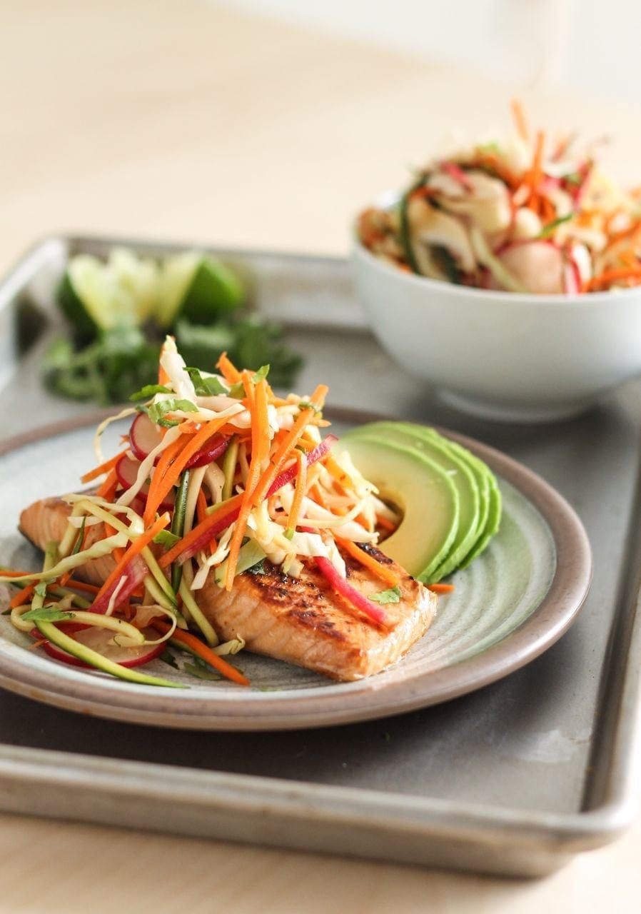 Miso Glazed Salmon with Sesame Slaw | Eat, Spin, Run, Repeat