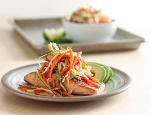Miso Glazed Salmon with Sesame Slaw