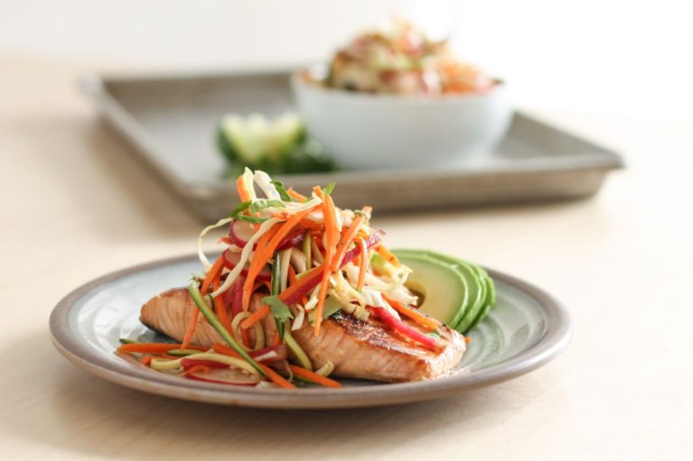 Miso Marinated Salmon with Sesame Slaw