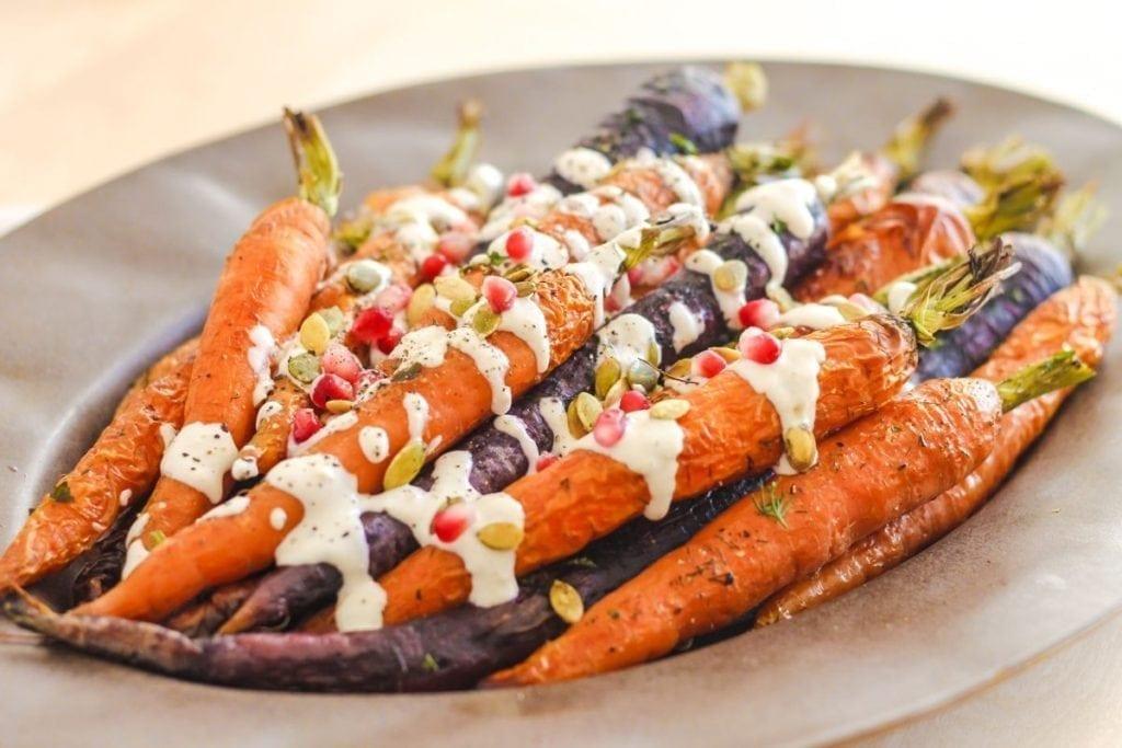 Roasted Carrots with Tahini Garlic Sauce - Eat Spin Run Repeat