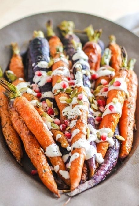 Roasted Carrots with Tahini Garlic Sauce - Eat Spin Run Repeat