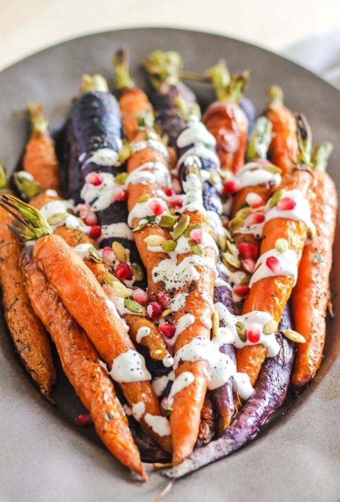 Roasted Carrots with Tahini Garlic Sauce || My Fresh Perspective || A perfect fall recipe featuring bright, vibrant and crunchy carrots with creamy tahini sauce || #vegan #glutenfree #dairyfree