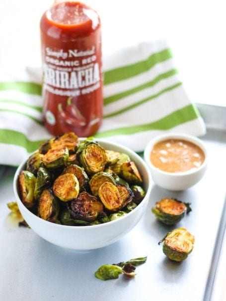Spicy Sriracha Brussels Sprouts with Almond Butter Dip