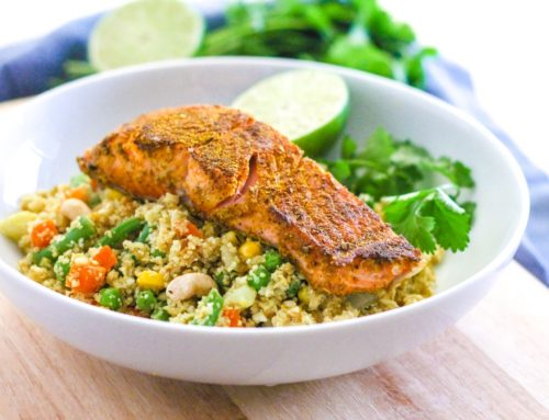 Curried Salmon with Cauliflower Rice Biryani