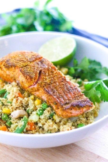 Curried Salmon with Cauliflower Rice Biryani - Eat Spin Run Repeat
