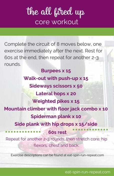 Fitness Friday 270: The All Fired Up Core Workout - Eat Spin Run Repeat