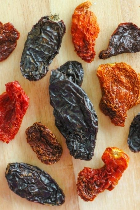 dried chillies and sundried tomatoes