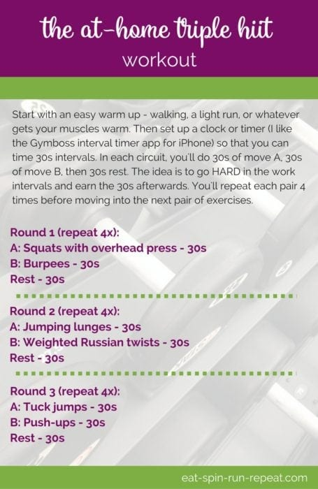 Fitness Friday 274: The At-Home Triple HIIT Workout - Eat Spin Run Repeat
