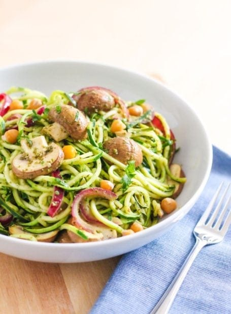Pesto Zucchini Noodles with Mushrooms and Chickpeas - Eat Spin Run Repeat
