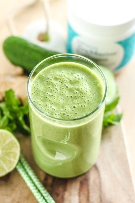 Cucumber Mint Lemonade Smoothie - Eat Spin Run Repeat