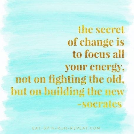 The secret of change is to focus all your energy, not on fighting the old, but on building the new - 2017 Goals - Eat Spin Run Repeat