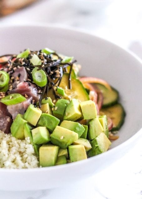 Ginger Lime Tuna Poke Bowls - Eat Spin Run Repeat
