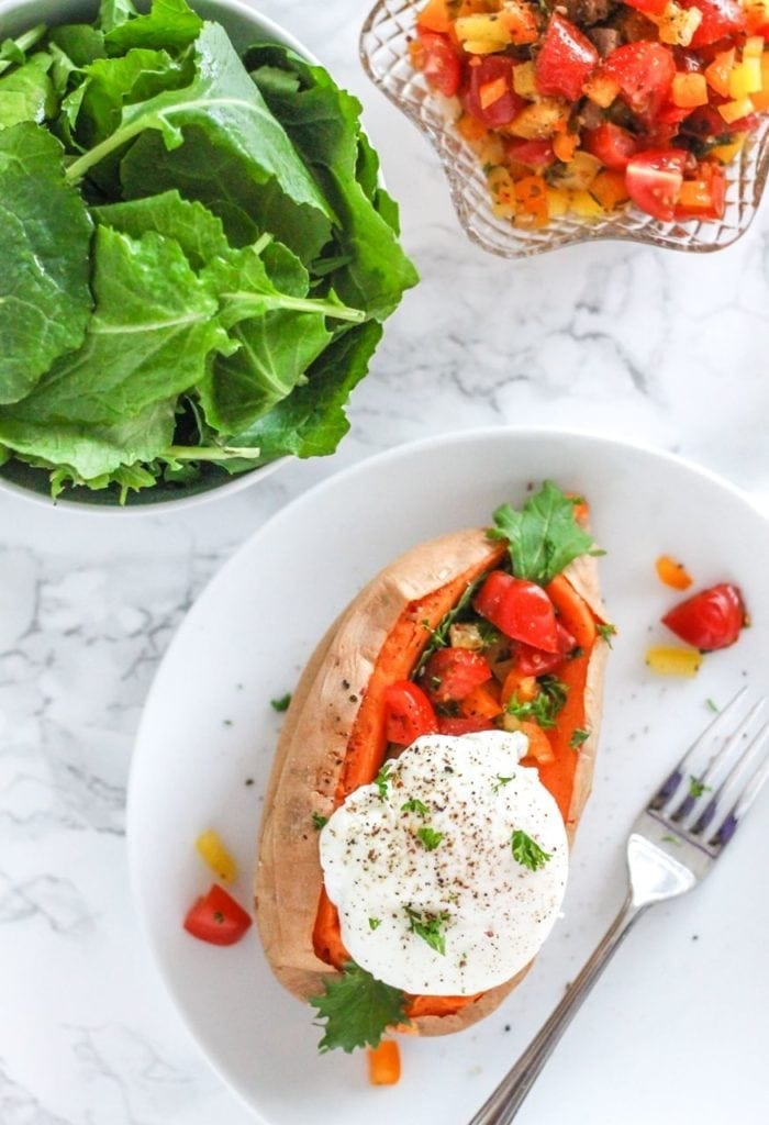 Roasted Sweet Potatoes with Poached Eggs and Pepper Salsa - My Fresh Perspective | #paleo #glutenfree #grainfree #dairyfree #whole30