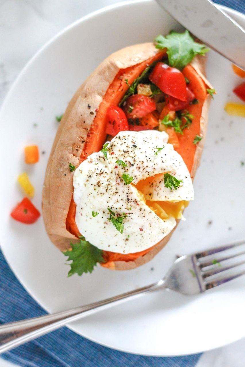 Roasted Sweet Potatoes with Poached Eggs and Bell Pepper ...