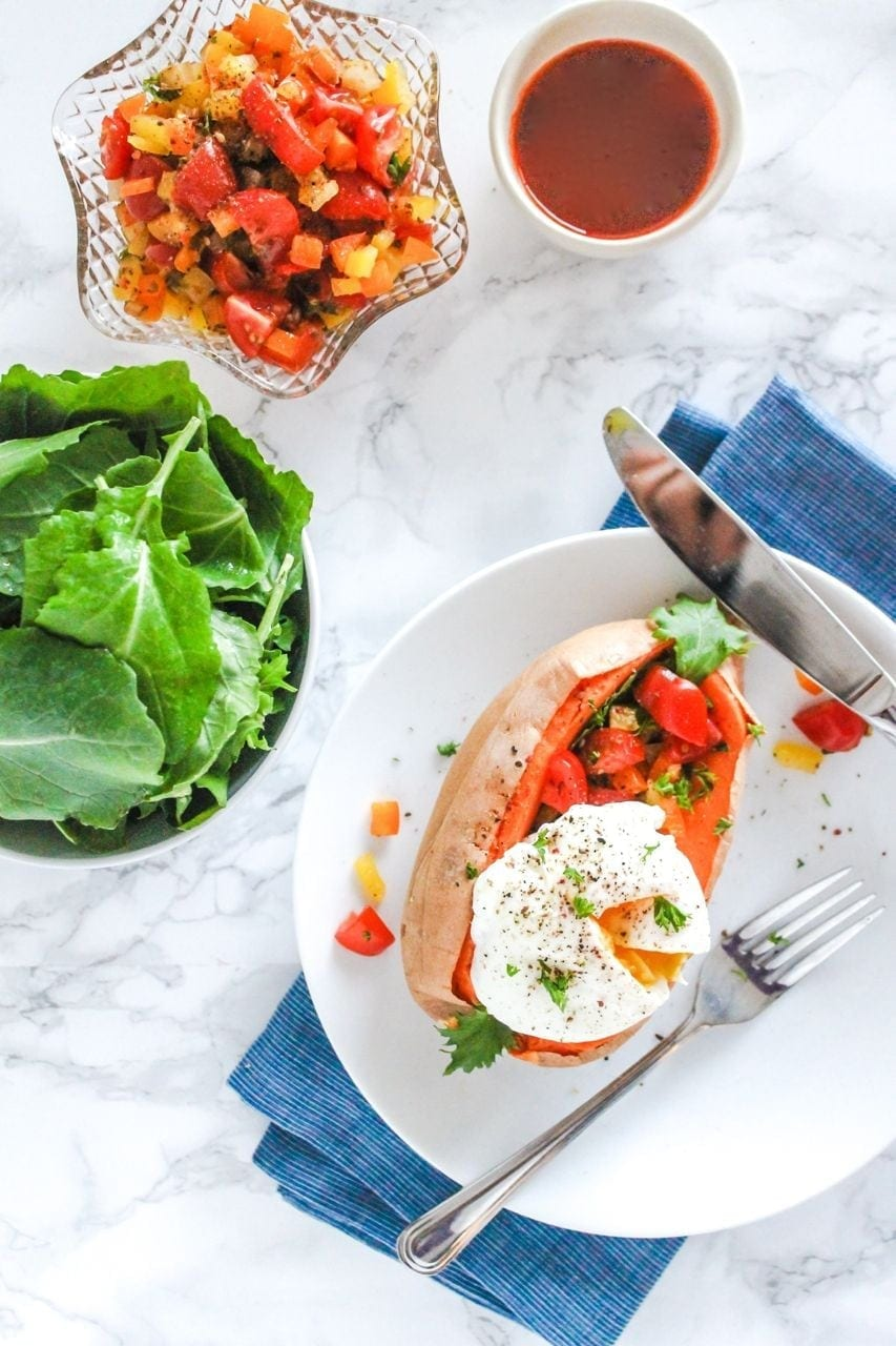 Roasted Sweet Potatoes with Poached Eggs and Bell Pepper Salsa | Eat ...