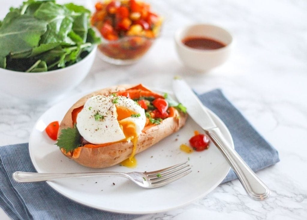 Roasted Sweet Potatoes with Poached Eggs and Pepper Salsa - Eat Spin Run Repeat