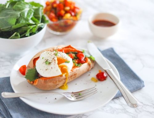 Roasted Sweet Potatoes with Poached Eggs and Bell Pepper Salsa