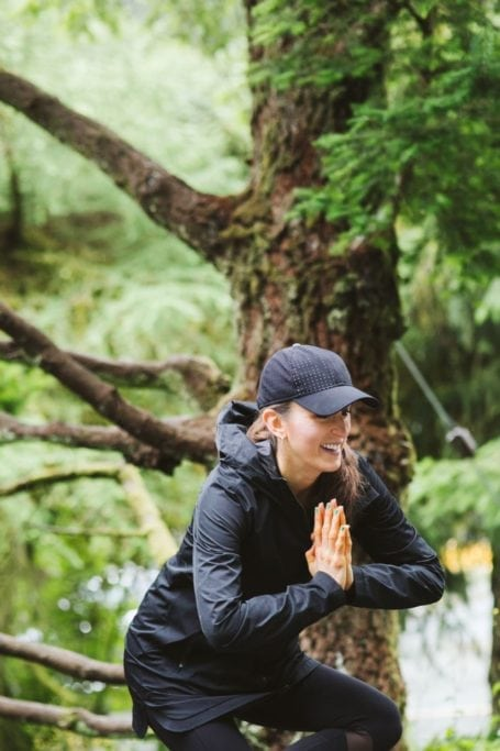 yoga in the rain at the grouse grind