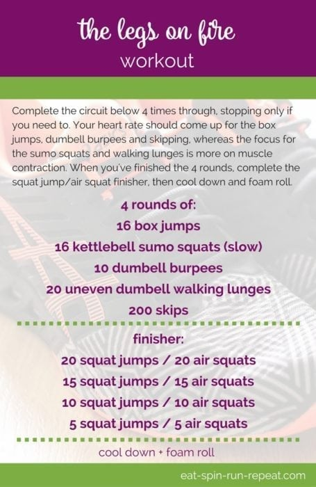 Fitness Friday 287- The Legs on Fire Workout - a solid leg-focused sweat session that combines strength and cardio for one killer workout. via Eat Spin Run Repeat // @eatspinrunrpt