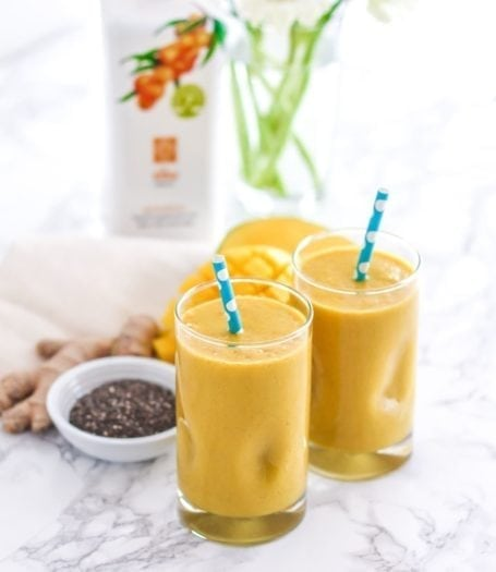 Golden Girl Turmeric Mango Smoothie - a super anti-inflammatory-packed high-protein smoothie with additional antioxidants thanks to sea buckthorn puree. Full recipe at eat-spin-run-repeat.com or @eatspinrunrpt