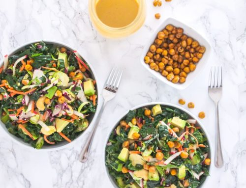 Lemon Tahini Kale Slaw with Crispy Chickpeas