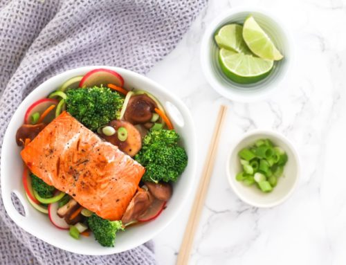 Teriyaki Salmon with Zucchini Noodle Stir Fry