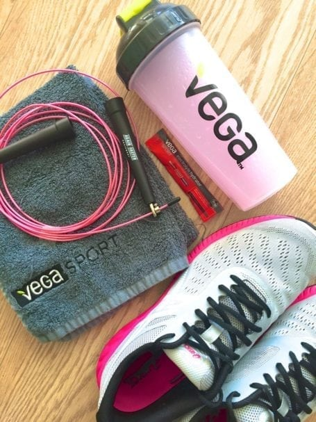 gym stuff, skipping rope and asics