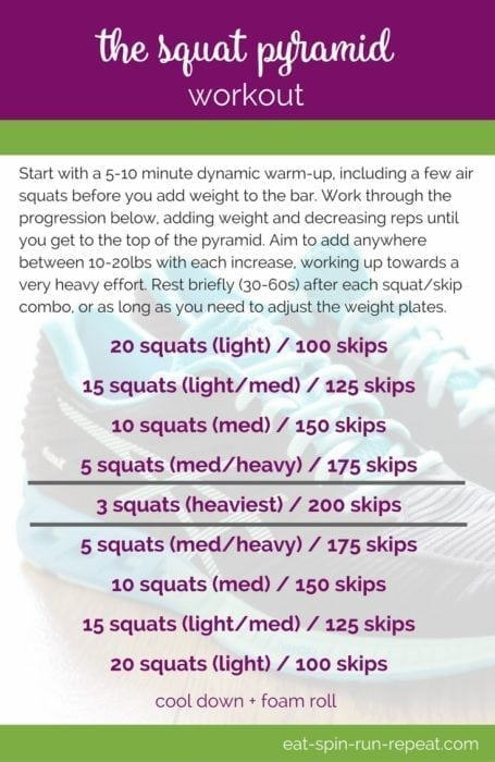 Fitness Friday 290- The Squat Pyramid Workout - A 2-move combo pyramid workout that develops cardiovascular fitness, strength, and works every muscle. Downloadable PDF via Eat Spin Run Repeat // @eatspinrunrpt