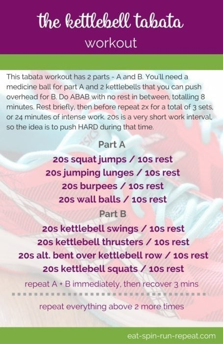Done properly, this Kettlebell Tabata Workout should leave you feeling wiped (in a totally fantastic way) and riding an epic endorphin high. GET IT!! Full workout via Eat Spin Run Repeat // @eatspinrunrpt
