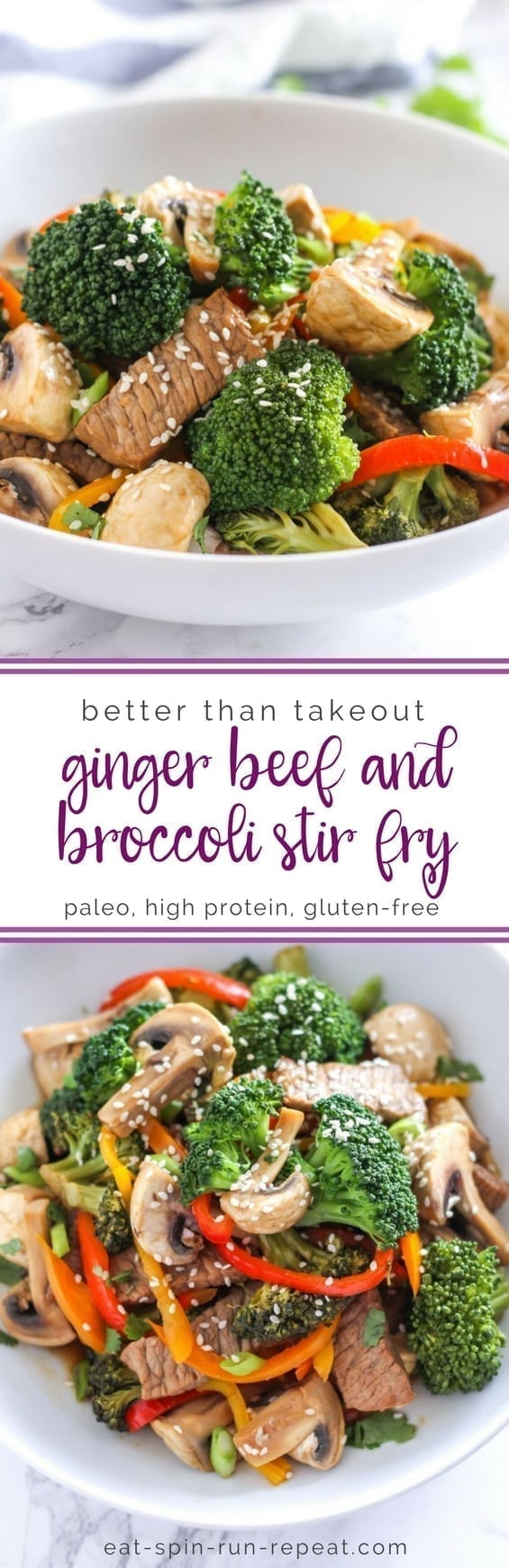 Paleo. gluten-free Ginger Beef and Broccoli Stir Fry - a perfect easy dinner idea that's high in protein and full of nutrition! || Eat Spin Run Repeat